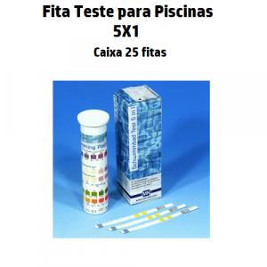 Fita Teste Piscinas 5X1 (Cloro Livre, Cloro Total, Alcalinidade, Dureza e PH) 25 fitas